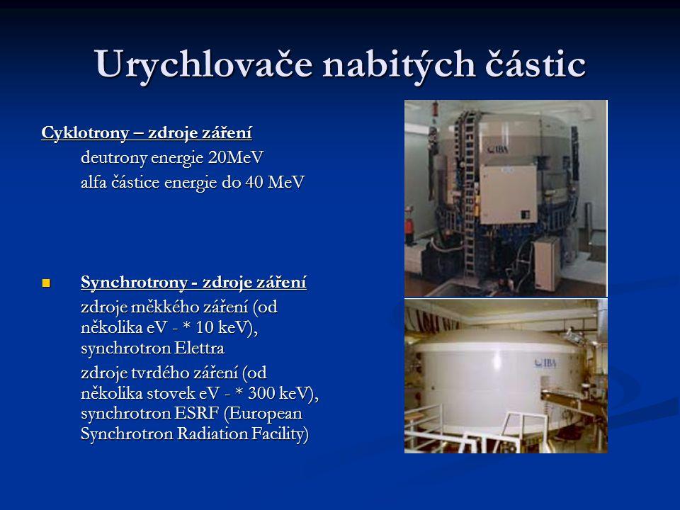 Urychlovače nabitých částic Cyklotrony – zdroje záření deutrony energie 20MeV alfa částice energie do 40 MeV Synchrotrony - zdroje záření Synchrotrony