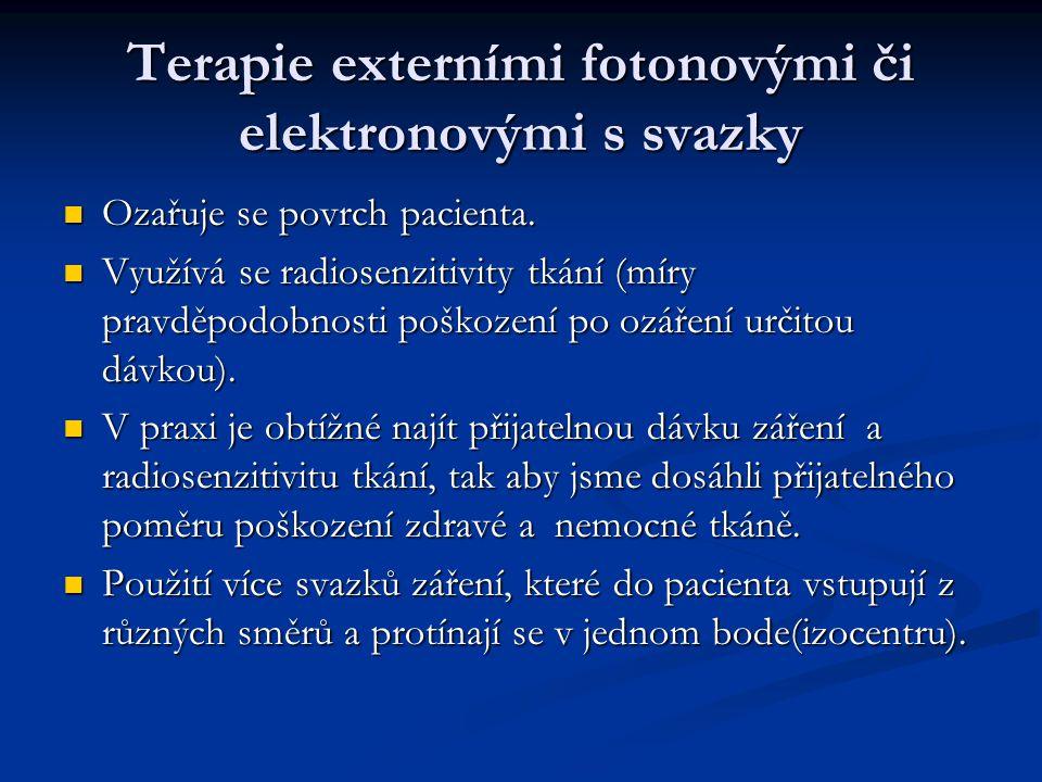 Terapie externími fotonovými či elektronovými s svazky Ozařuje se povrch pacienta. Ozařuje se povrch pacienta. Využívá se radiosenzitivity tkání (míry