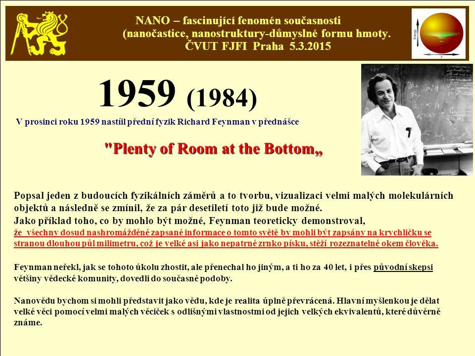 NANO – fascinující fenomén současnosti (nanočastice, nanostruktury-důmyslné formu hmoty. ČVUT FJFI Praha 5.3.2015 1959 (1984) V prosinci roku 1959 nas