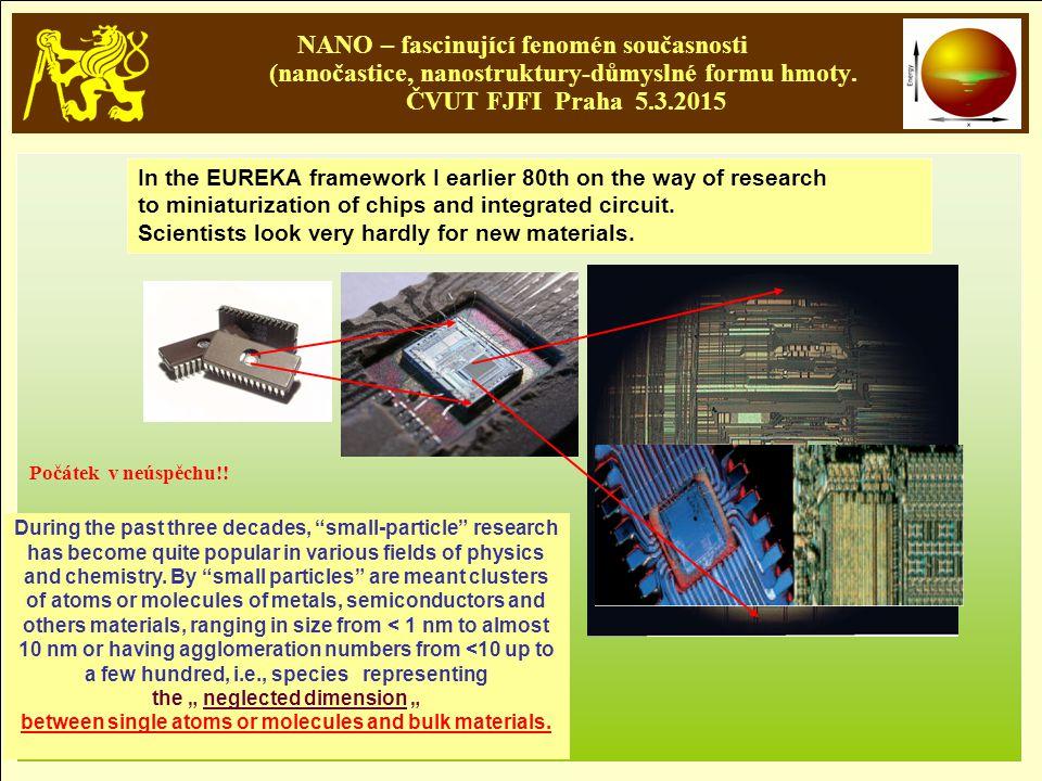 NANO – fascinující fenomén současnosti (nanočastice, nanostruktury-důmyslné formu hmoty. ČVUT FJFI Praha 5.3.2015 In the EUREKA framework I earlier 80