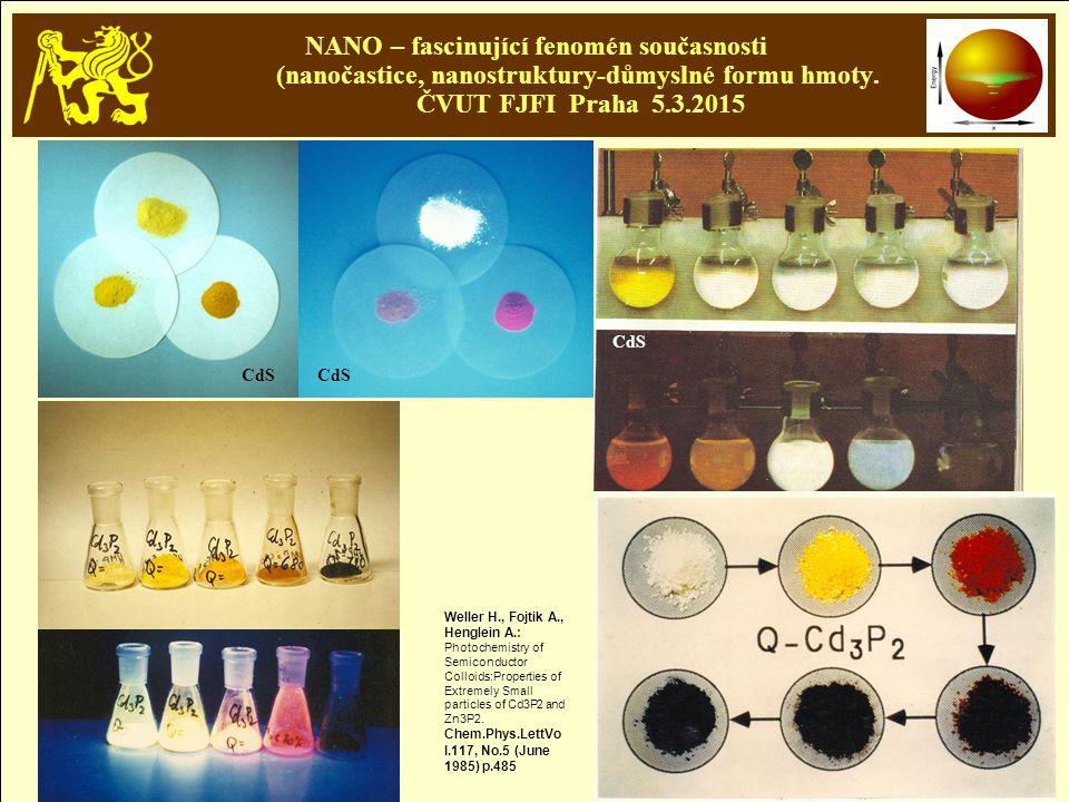 NANO – fascinující fenomén současnosti (nanočastice, nanostruktury-důmyslné formu hmoty. ČVUT FJFI Praha 5.3.2015 Weller H., Fojtik A., Henglein A.: P