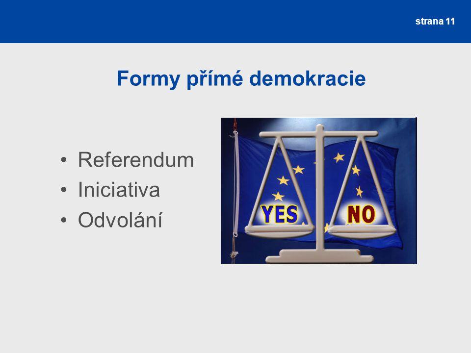 strana 11 Formy přímé demokracie Referendum Iniciativa Odvolání
