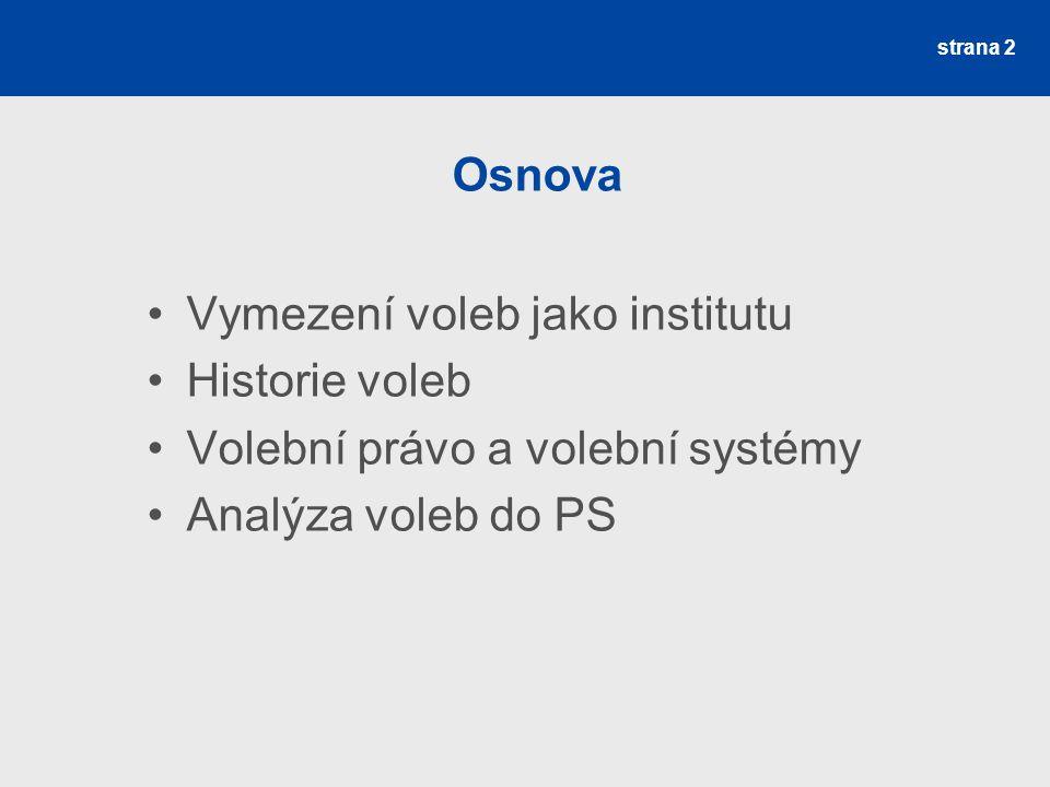 strana 2 Osnova Vymezení voleb jako institutu Historie voleb Volební právo a volební systémy Analýza voleb do PS