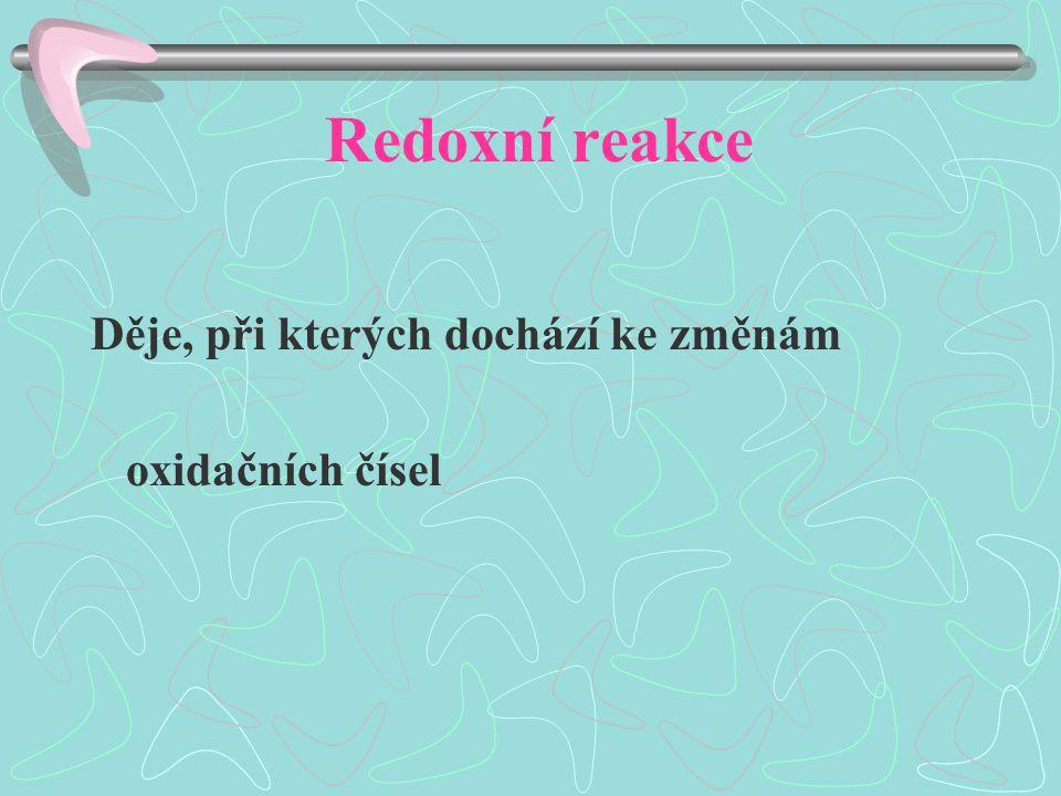 Redoxní reakce Děje, při kterých dochází ke změnám oxidačních čísel