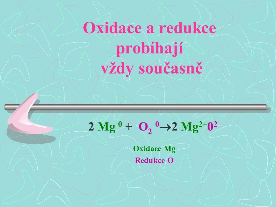 Oxidace a redukce probíhají vždy současně 2 Mg 0 + O 2 0  2 Mg 2+ 0 2- Oxidace Mg Redukce O