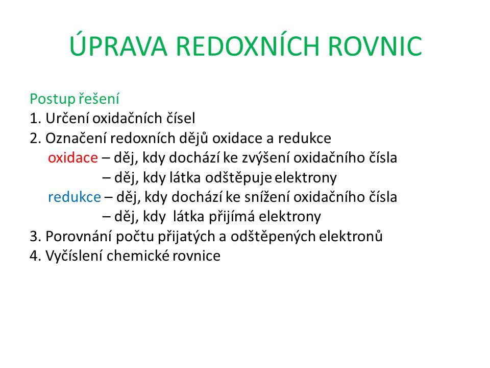 ÚPRAVA REDOXNÍCH ROVNIC Postup řešení 1. Určení oxidačních čísel 2.