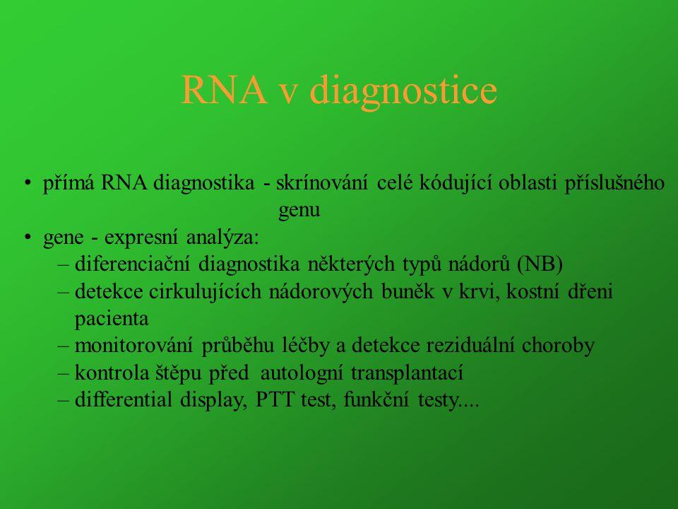 RNA v diagnostice přímá RNA diagnostika - skrínování celé kódující oblasti příslušného genu gene - expresní analýza: – diferenciační diagnostika někte