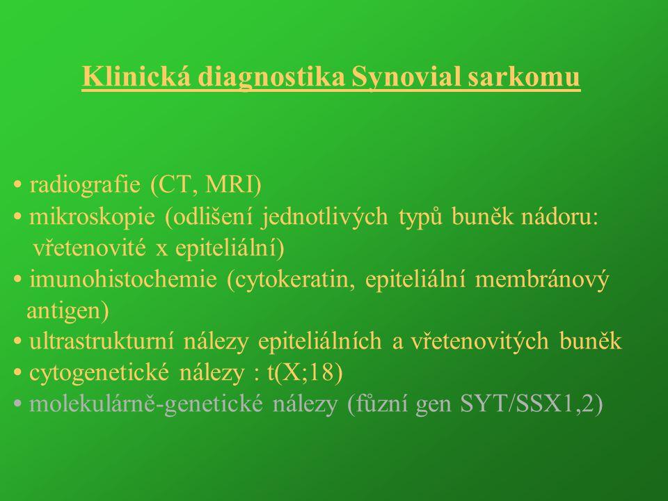 Klinická diagnostika Synovial sarkomu radiografie (CT, MRI) mikroskopie (odlišení jednotlivých typů buněk nádoru: vřetenovité x epiteliální) imunohist