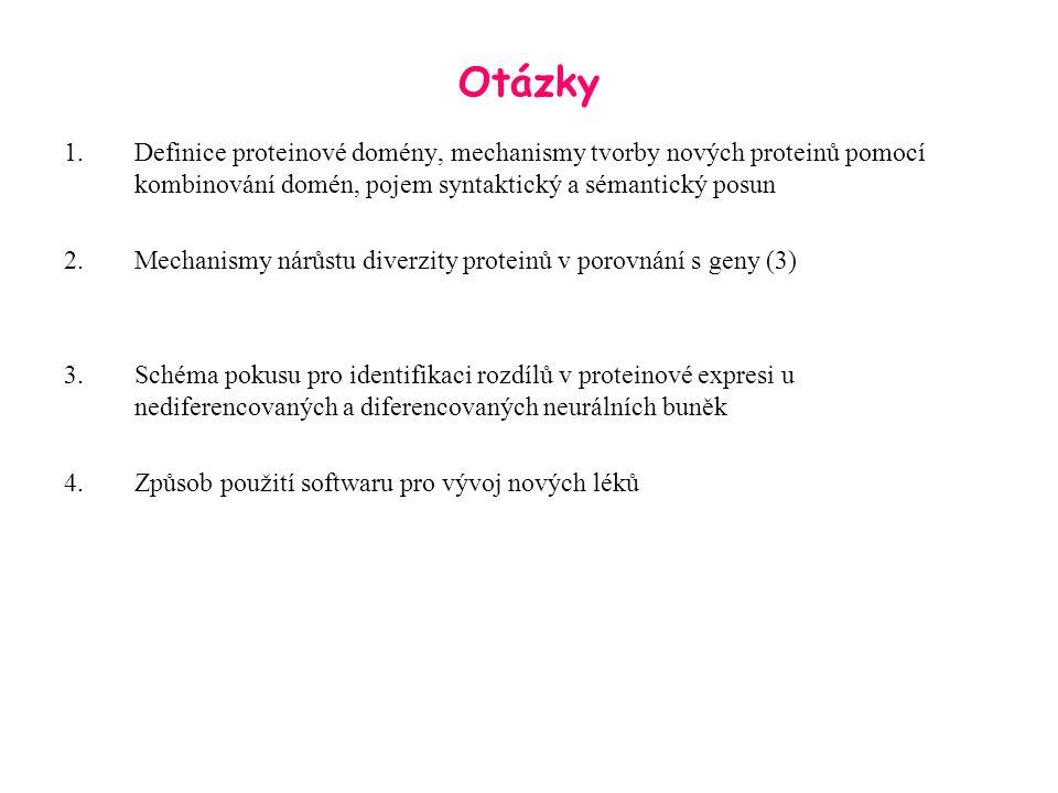 Otázky 1.Definice proteinové domény, mechanismy tvorby nových proteinů pomocí kombinování domén, pojem syntaktický a sémantický posun 2.Mechanismy nár