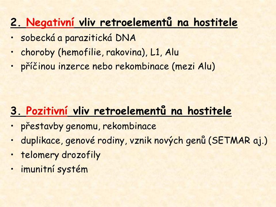 2. Negativní vliv retroelementů na hostitele sobecká a parazitická DNA choroby (hemofilie, rakovina), L1, Alu příčinou inzerce nebo rekombinace (mezi