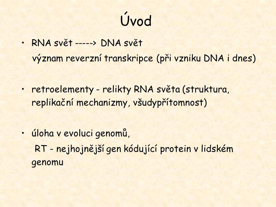 Úvod RNA svět -----> DNA svět význam reverzní transkripce (při vzniku DNA i dnes) retroelementy - relikty RNA světa (struktura, replikační mechanizmy,