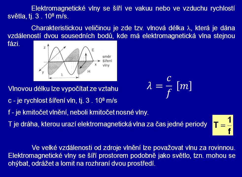 Vlnovou délku lze vypočítat ze vztahu c - je rychlost šíření vln, tj. 3. 10 8 m/s f - je kmitočet vlnění, neboli kmitočet nosné vlny. T je dráha, kter