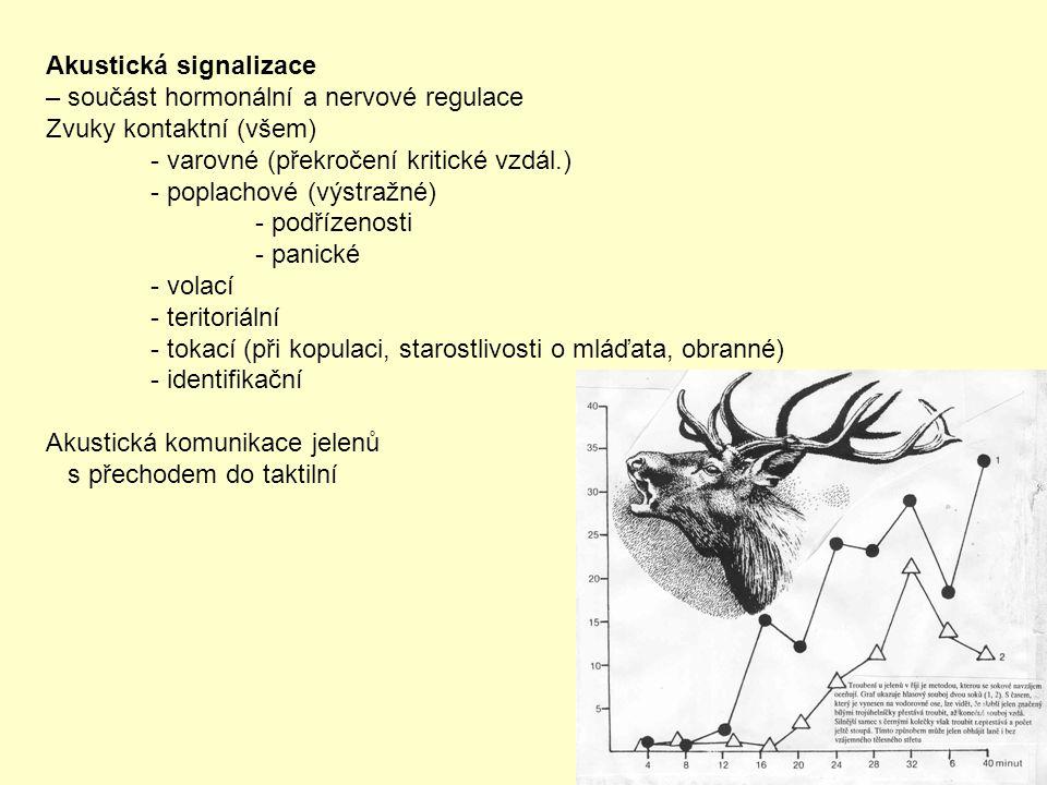 Akustická signalizace – součást hormonální a nervové regulace Zvuky kontaktní (všem) - varovné (překročení kritické vzdál.) - poplachové (výstražné) -