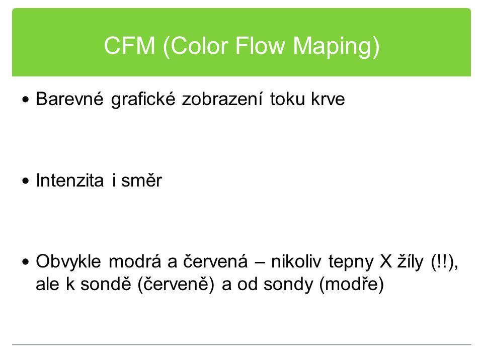 CFM (Color Flow Maping) Barevné grafické zobrazení toku krve Intenzita i směr Obvykle modrá a červená – nikoliv tepny X žíly (!!), ale k sondě (červen