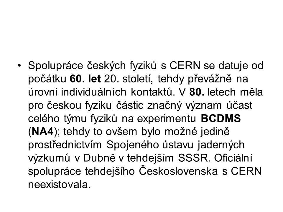 Spolupráce českých fyziků s CERN se datuje od počátku 60.