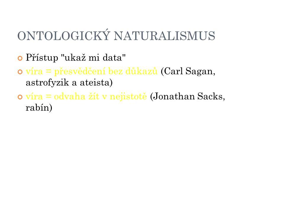 ONTOLOGICKÝ NATURALISMUS Přístup