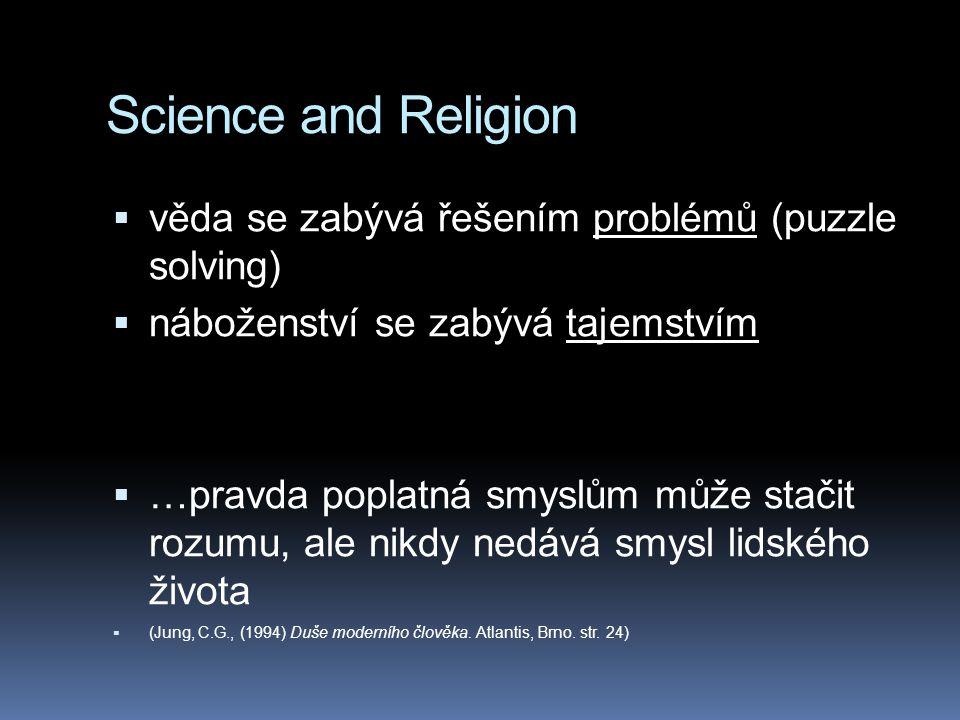 Science and Religion  věda se zabývá řešením problémů (puzzle solving)  náboženství se zabývá tajemstvím  …pravda poplatná smyslům může stačit rozu