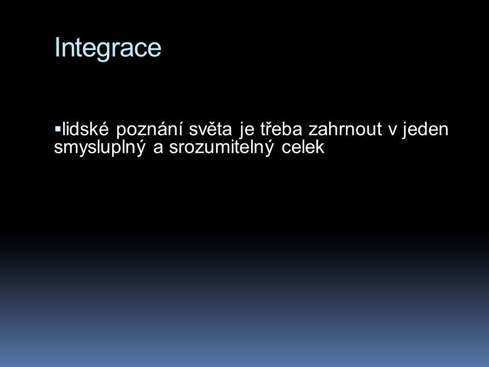 Integrace  lidské poznání světa je třeba zahrnout v jeden smysluplný a srozumitelný celek
