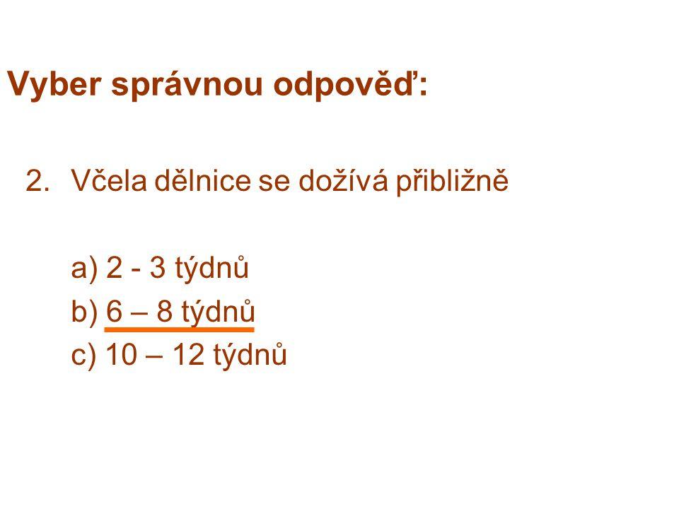 Vyber správnou odpověď: 2.Včela dělnice se dožívá přibližně a) 2 - 3 týdnů b) 6 – 8 týdnů c) 10 – 12 týdnů
