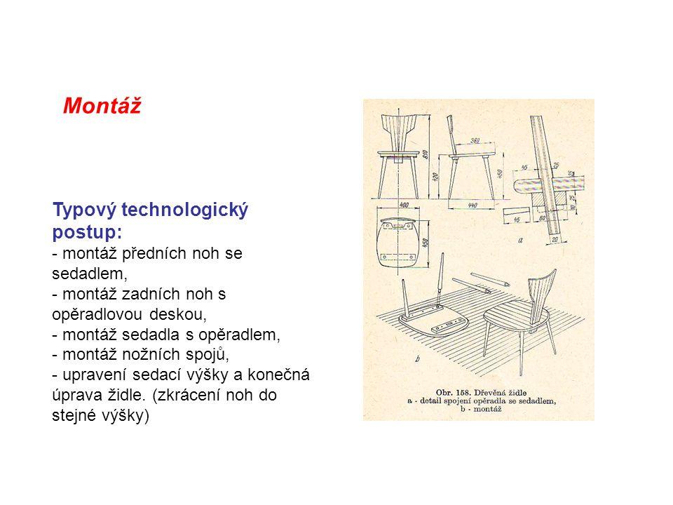 Montáž Typový technologický postup: - montáž předních noh se sedadlem, - montáž zadních noh s opěradlovou deskou, - montáž sedadla s opěradlem, - mont