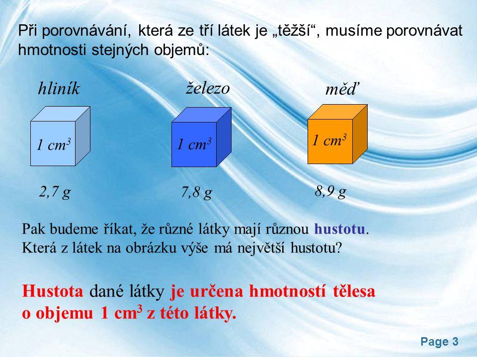 """Page 3 Při porovnávání, která ze tří látek je """"těžší , musíme porovnávat hmotnosti stejných objemů: hliník železo měď 1 cm 3 2,7 g 7,8 g 8,9 g Pak budeme říkat, že různé látky mají různou hustotu."""