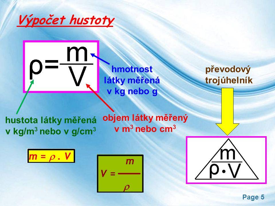 Page 5 Výpočet hustoty hustota látky měřená v kg/m 3 nebo v g/cm 3 objem látky měřený v m 3 nebo cm 3 hmotnost látky měřená v kg nebo g převodový trojúhelník