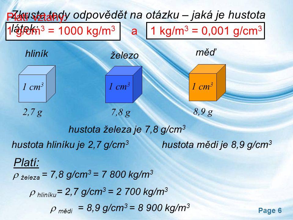 Page 6 železo měď 1 cm 3 2,7 g 7,8 g 8,9 g hliník Zkuste tedy odpovědět na otázku – jaká je hustota látek: hustota hliníku je 2,7 g/cm 3 hustota mědi je 8,9 g/cm 3 hustota železa je 7,8 g/cm 3  železa = 7,8 g/cm 3 = 7 800 kg/m 3  hliníku = 2,7 g/cm 3 = 2 700 kg/m 3  mědi = 8,9 g/cm 3 = 8 900 kg/m 3 Platí vztahy: 1 g/cm 3 = 1000 kg/m 3 a 1 kg/m 3 = 0,001 g/cm 3 Platí:
