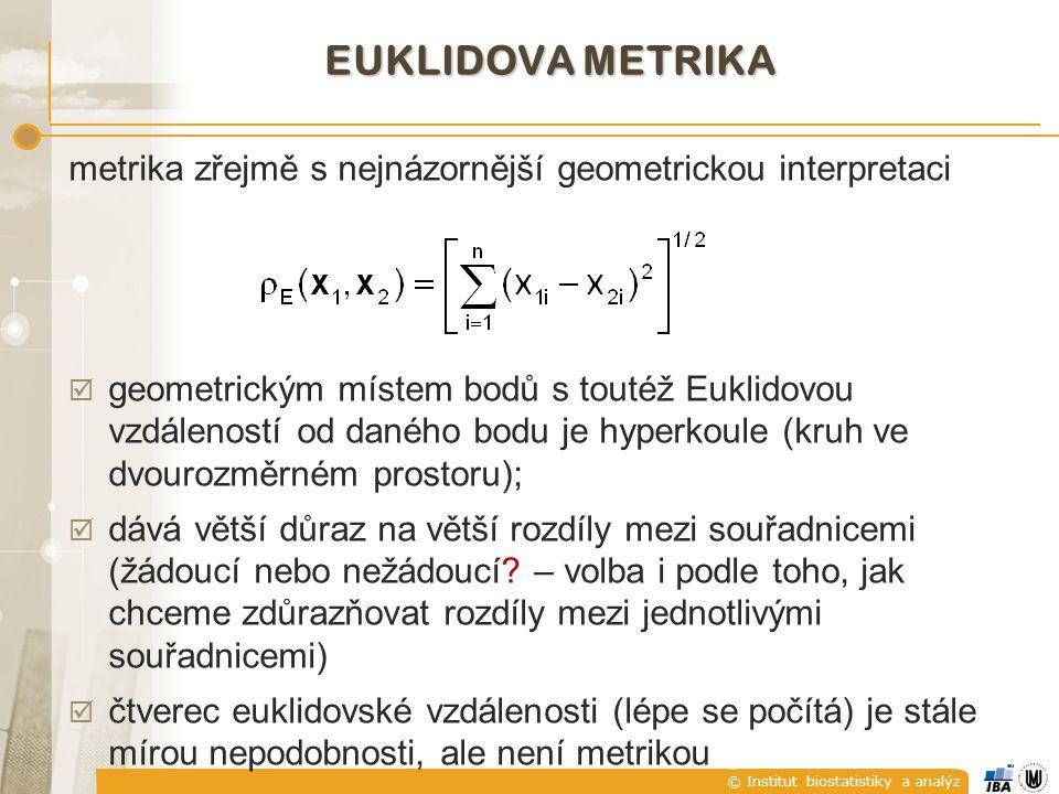© Institut biostatistiky a analýz EUKLIDOVA METRIKA metrika zřejmě s nejnázornější geometrickou interpretaci  geometrickým místem bodů s toutéž Eukli