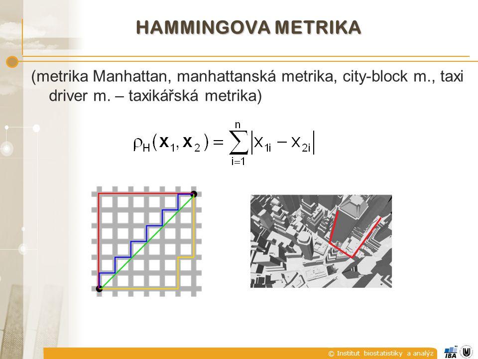 © Institut biostatistiky a analýz HAMMINGOVA METRIKA (metrika Manhattan, manhattanská metrika, city-block m., taxi driver m. – taxikářská metrika)