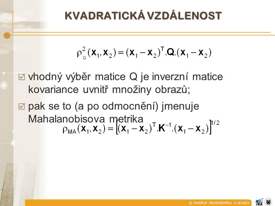 © Institut biostatistiky a analýz KVADRATICKÁ VZDÁLENOST  vhodný výběr matice Q je inverzní matice kovariance uvnitř množiny obrazů;  pak se to (a p