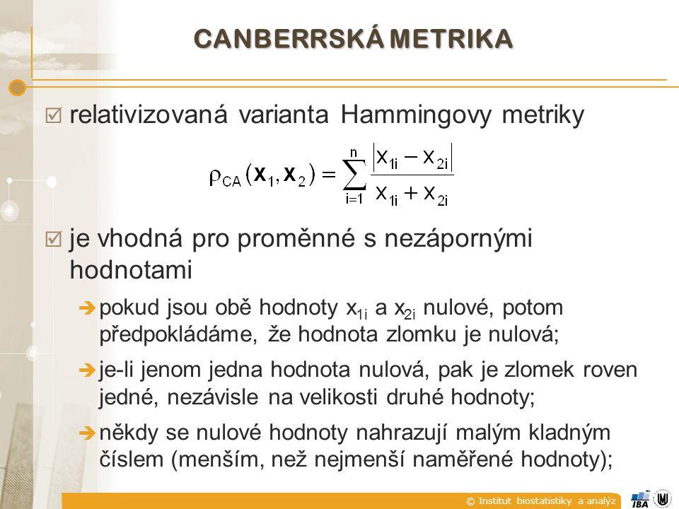 © Institut biostatistiky a analýz CANBERRSKÁ METRIKA  relativizovaná varianta Hammingovy metriky  je vhodná pro proměnné s nezápornými hodnotami  p