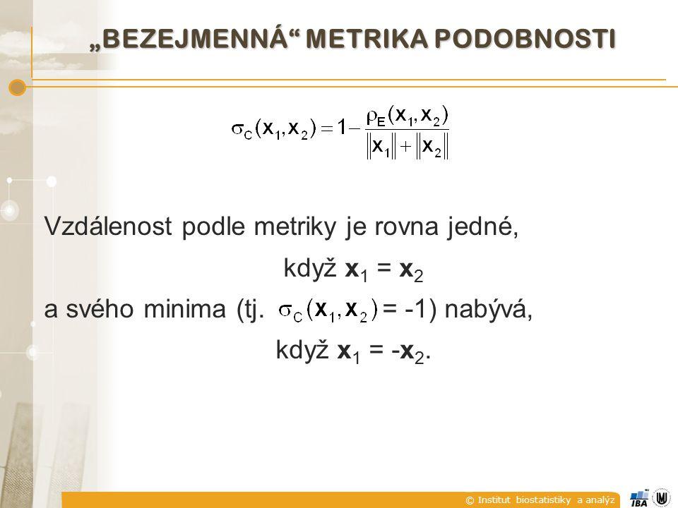 "© Institut biostatistiky a analýz ""BEZEJMENNÁ"" METRIKA PODOBNOSTI Vzdálenost podle metriky je rovna jedné, když x 1 = x 2 a svého minima (tj. = -1) na"