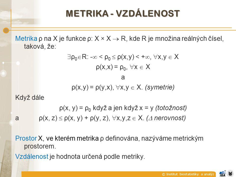 © Institut biostatistiky a analýz METRIKA PODOBNOSTI - PODOBNOST Metrická míra podobnosti s na X je funkce s: X × X  R, kde R je množina reálných čísel, taková, že:  s 0  R: -  < s(x,y)  s 0 < + ,  x,y  X s(x,x) = s 0,  x  X a s(x,y) = s(y,x),  x,y  X.