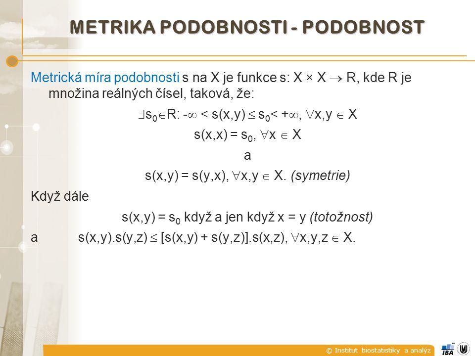 © Institut biostatistiky a analýz METRIKA KOSINOVÉ PODOBNOSTI kde je norma (délka) vektoru x i.