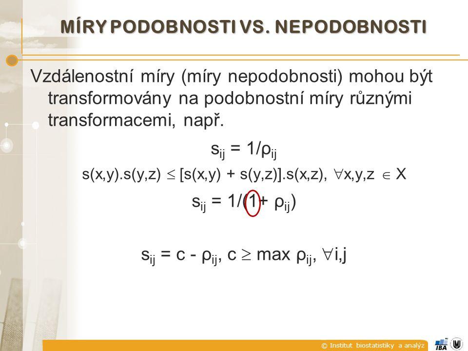 © Institut biostatistiky a analýz TANIMOTOVA METRIKA PODOBNOSTI Přičteme-li a odečteme-li ve jmenovateli výraz x 1 T x 2 a podělíme-li čitatele i jmenovatele zlomku toutéž hodnotou, dostaneme Tanimotova podobnost vektorů x 1 a x 2 je nepřímo úměrná kvadrátu Euklidovy vzdálenosti vektorů x 1 a x 2 vztažené k jejich skalárnímu součinu.