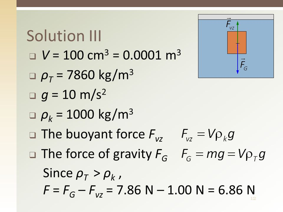12  V = 100 cm 3 = 0.0001 m 3  ρ T = 7860 kg/m 3  g = 10 m/s 2  ρ k = 1000 kg/m 3  The buoyant force F vz  The force of gravity F G Solution III Since ρ T > ρ k, F = F G – F vz = 7.86 N – 1.00 N = 6.86 N