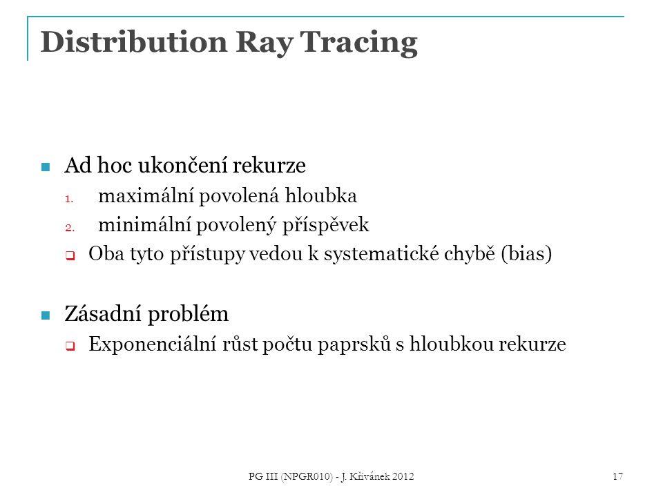 Distribution Ray Tracing Ad hoc ukončení rekurze 1.
