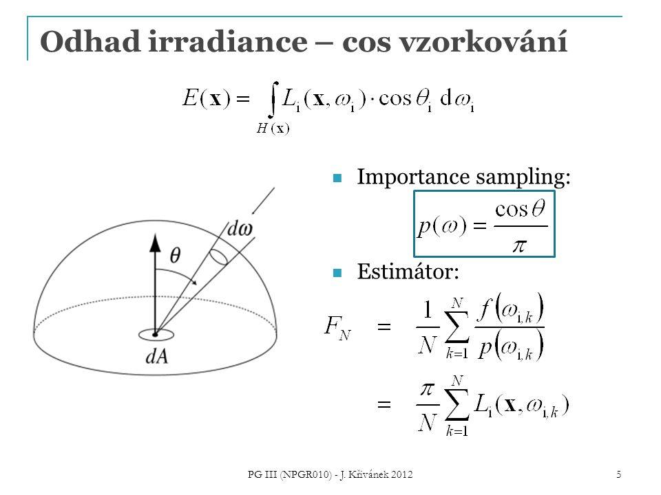Odhad irradiance – cos vzorkování Importance sampling: Estimátor: PG III (NPGR010) - J.