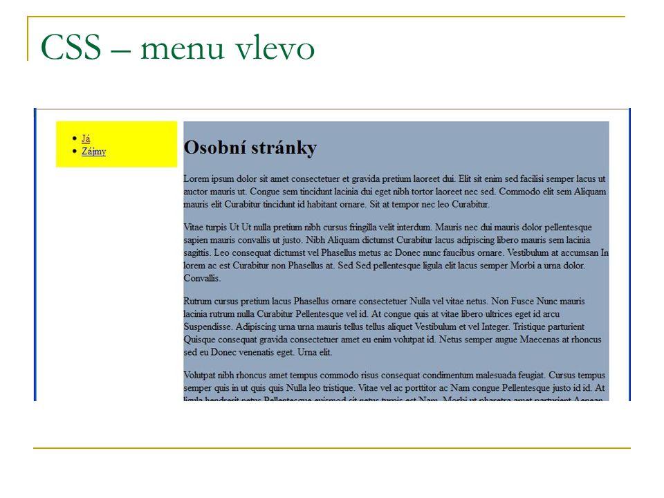 CSS – menu vlevo