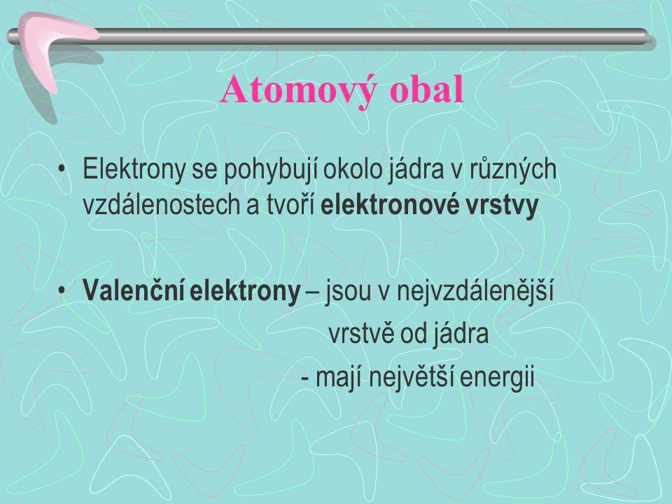 Atomový obal Elektrony se pohybují okolo jádra v různých vzdálenostech a tvoří elektronové vrstvy Valenční elektrony – jsou v nejvzdálenější vrstvě od jádra - mají největší energii