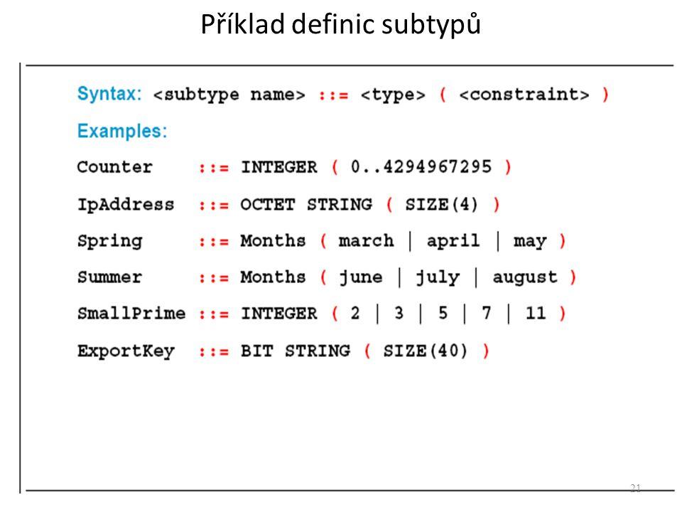 Příklad definic subtypů 21