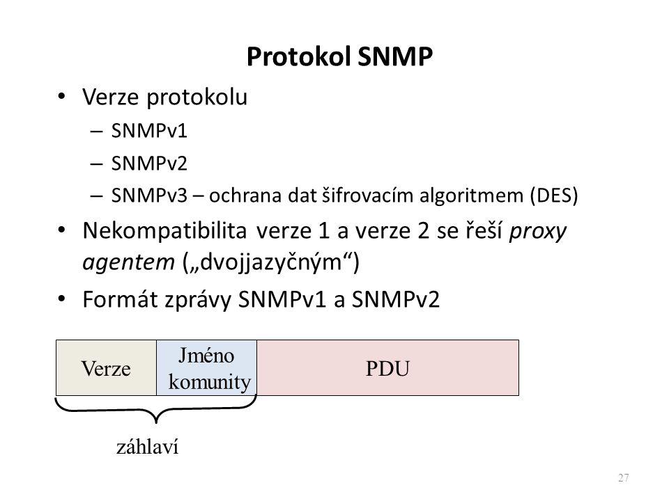 """Protokol SNMP Verze protokolu – SNMPv1 – SNMPv2 – SNMPv3 – ochrana dat šifrovacím algoritmem (DES) Nekompatibilita verze 1 a verze 2 se řeší proxy agentem (""""dvojjazyčným ) Formát zprávy SNMPv1 a SNMPv2 27 Verze Jméno komunity PDU záhlaví"""