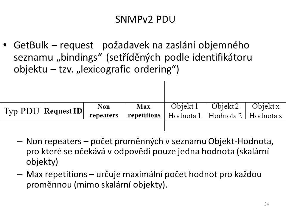 """SNMPv2 PDU GetBulk – request požadavek na zaslání objemného seznamu """"bindings (setříděných podle identifikátoru objektu – tzv."""