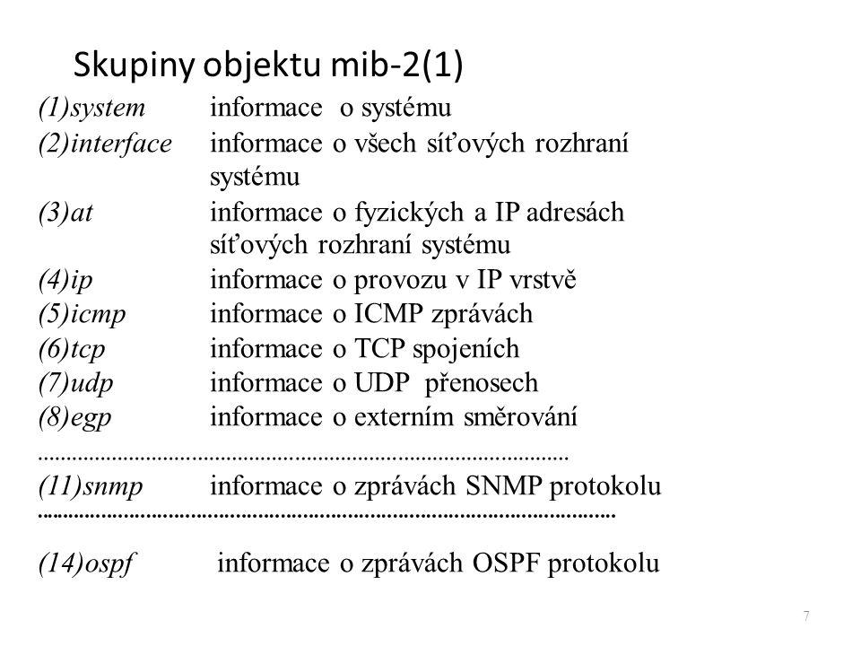 Struktura MIB Příklad: Skupina udp (pod skupinou mib) 8 udp (7) udpInDatagrams(1) udpNoPorts(2) udpInErrors(3) udpOutDatagrams(4) udpTable(5) udpEntry(1) udpLocalPort(2)udpLocalAddress(1)