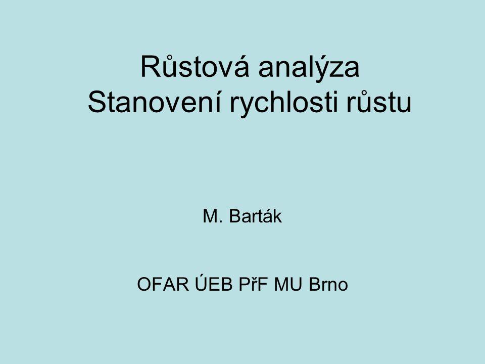 Růstová analýza Stanovení rychlosti růstu M. Barták OFAR ÚEB PřF MU Brno