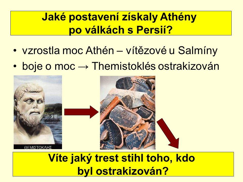 vzrostla moc Athén – vítězové u Salmíny boje o moc → Themistoklés ostrakizován Jaké postavení získaly Athény po válkách s Persií.