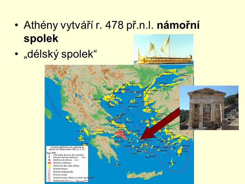 """Athény vytváří r. 478 př.n.l. námořní spolek """"délský spolek"""