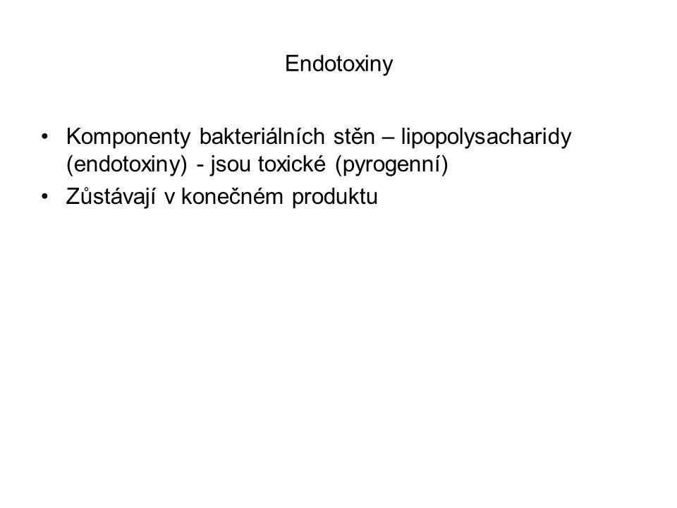 Endotoxiny Komponenty bakteriálních stěn – lipopolysacharidy (endotoxiny) - jsou toxické (pyrogenní) Zůstávají v konečném produktu