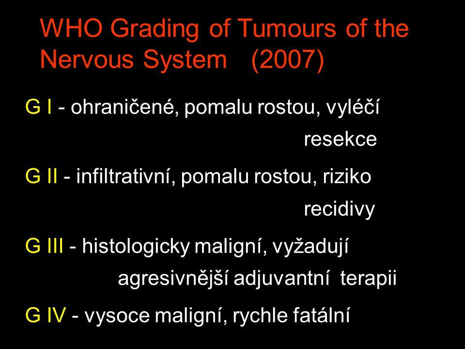 WHO Grading of Tumours of the Nervous System (2007) G I - ohraničené, pomalu rostou, vyléčí resekce G II - infiltrativní, pomalu rostou, riziko recidivy G III - histologicky maligní, vyžadují agresivnější adjuvantní terapii G IV - vysoce maligní, rychle fatální