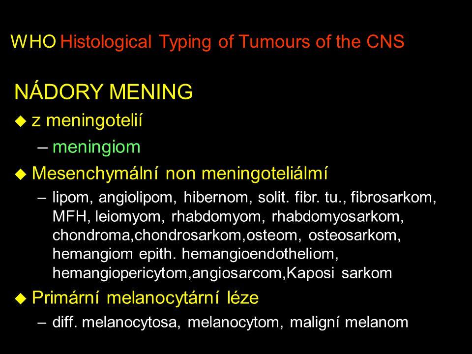 WHO Histological Typing of Tumours of the CNS NÁDORY MENING u z meningotelií –meningiom u Mesenchymální non meningoteliálmí –lipom, angiolipom, hibernom, solit.